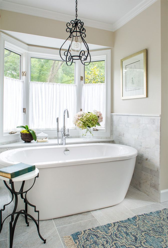 Shelco for a Traditional Bathroom with a Cafe Curtains and Paces Neighborhood   Atlanta, Ga by Beth Kooby Design