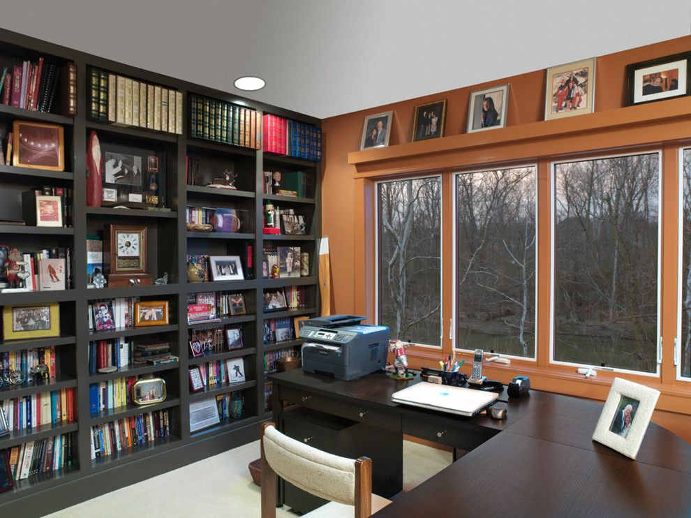 Shelco for a Traditional Home Office with a Orange Wall and River House by Melaragno Design Company, Llc