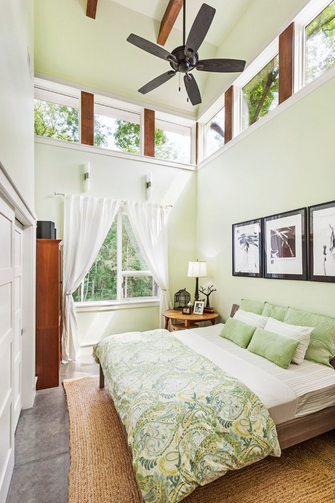 Sherwin Williams Color Visualizer for a Contemporary Bedroom with a Concrete Floor and Norris Lake House by Sanders Pace Architecture