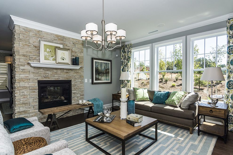 Sherwin Williams Color Visualizer for a Traditional Living Room with a Gray Blue Walls and M/i Homes of Raleigh: Overlook at Amberly   Hawthorne Model by M/i Homes
