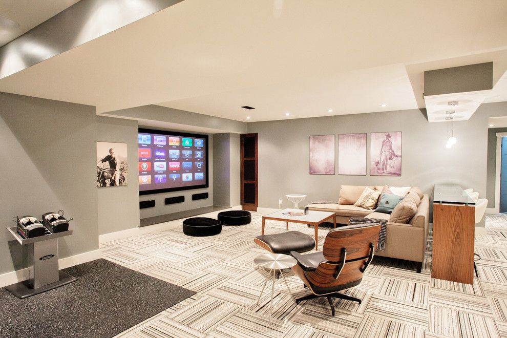 Sherwin Williams Flooring for a Contemporary Basement with a Vintage Art and Funky Fresh Basement by Madison Taylor
