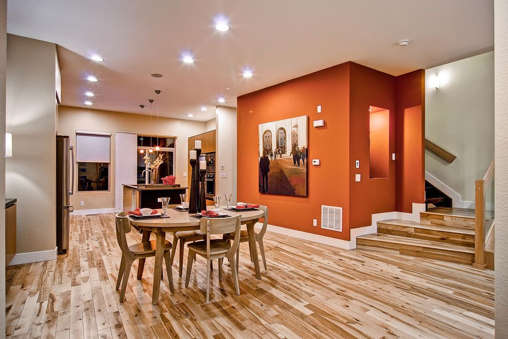 Sherwin Williams Flooring for a Contemporary Dining Room with a Wall Nook and Contemporary Dining Room by Wonderlandhomes.com