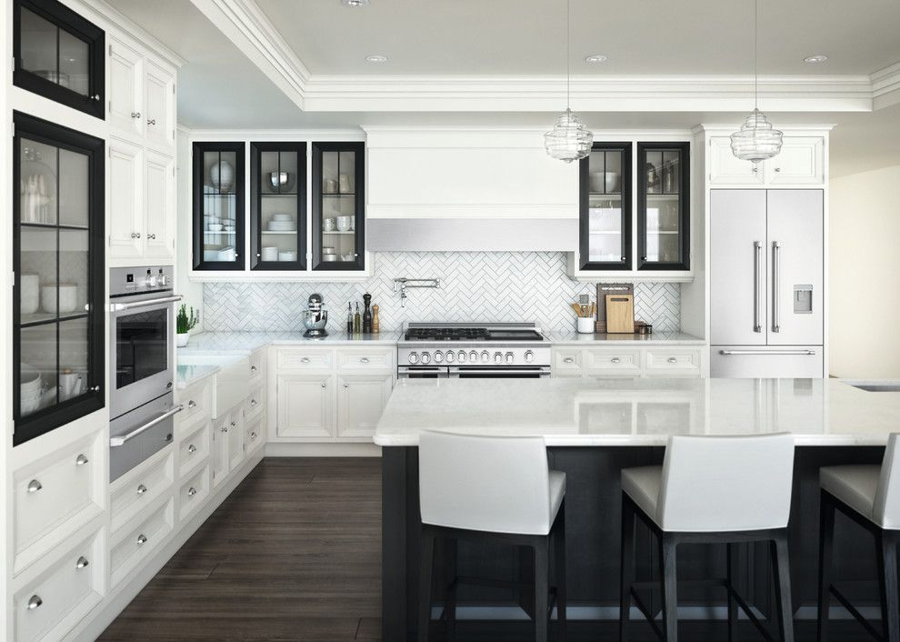 Sherwin Williams Flooring for a Contemporary Kitchen with a White Countertop and Dcs by Fisher & Paykel by Dcs by Fisher & Paykel