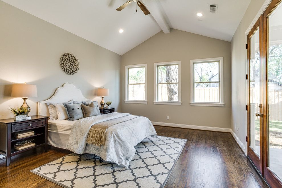 Sherwin Williams Flooring for a Traditional Bedroom with a Ceiling Beam and Goodwin Custom Home by Bella Vista Company