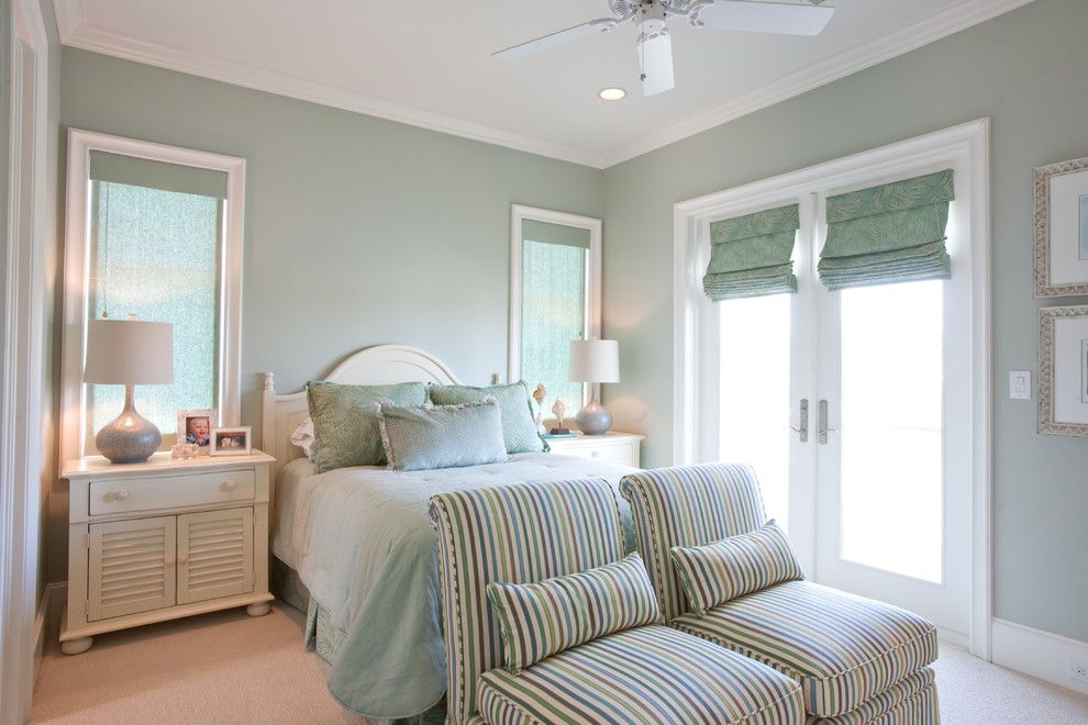 Sherwin Williams Flooring for a Traditional Bedroom with a Pastel Green and Beach Vacation Home by Creative Touch Interiors