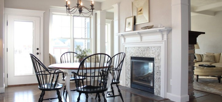 Sherwin Williams Flooring for a Traditional Dining Room with a Glass Door and 2012 VHBA - Winter Wonderland of Homes by Bradd W. Syring LLC - Custom Homes