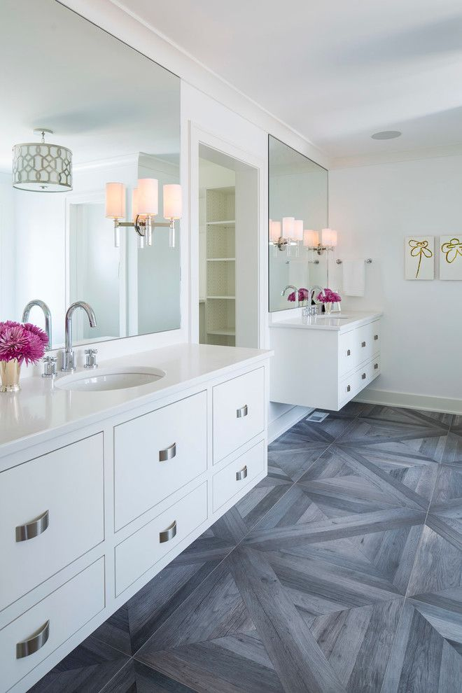 Sherwin Williams Flooring for a Transitional Bathroom with a Pops of Purple and Master Bathroom by Martha O'hara Interiors