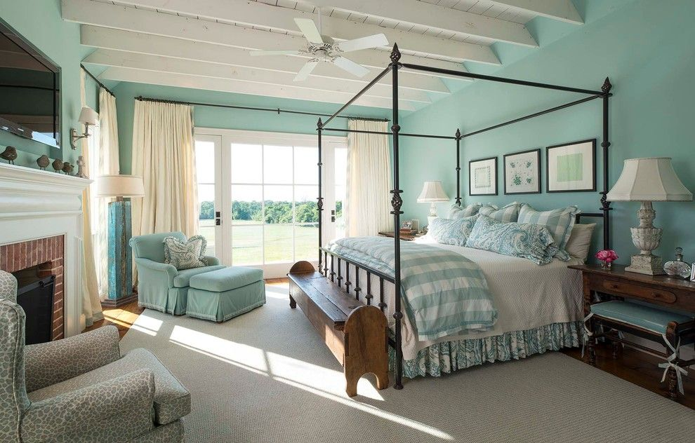 Sherwin Williams Pottery Barn for a Farmhouse Bedroom with a White Curtains and Athens Farmhouse by M. Barnes & Co