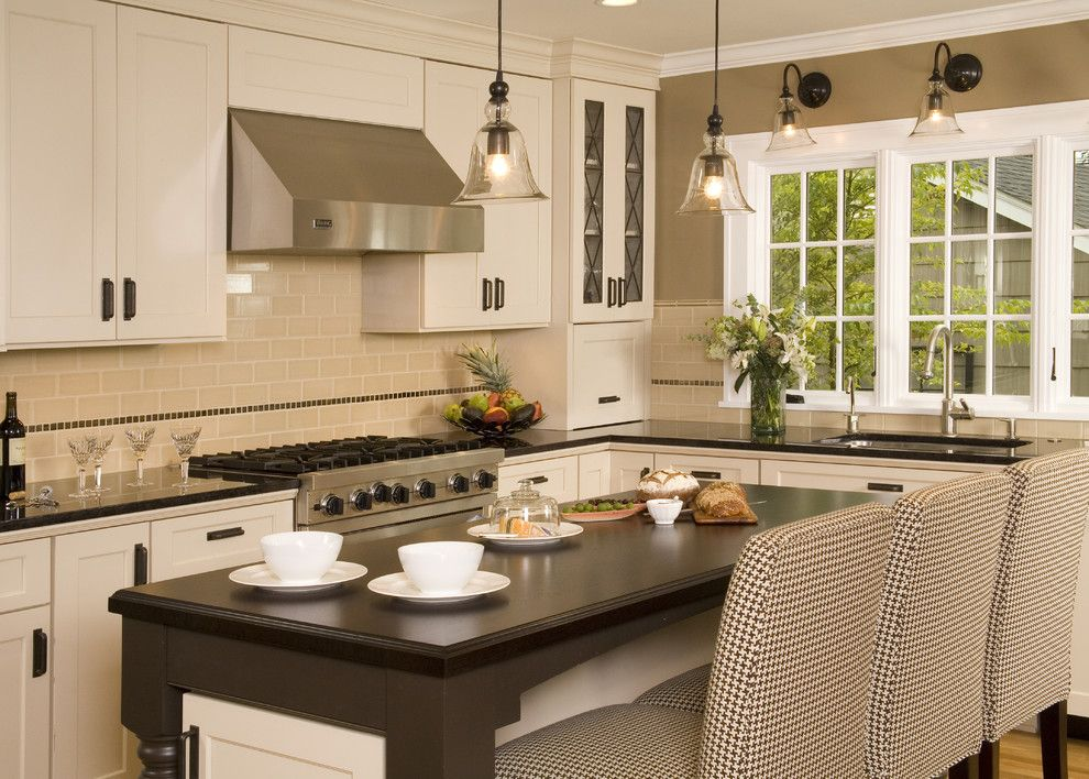 Sherwin Williams Pottery Barn for a Traditional Kitchen with a Subway Tiles and Mocha Kitchen by Kayron Brewer, Ckd, Cbd / Studio K B