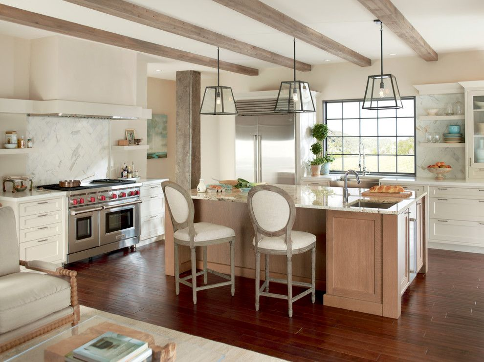 Sherwin Williams Pottery Barn for a Transitional Kitchen with a Wood Post and Kitchens by Sub Zero and Wolf