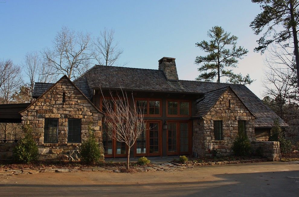 Shingles in Spanish for a Traditional Exterior with a Cultured Stone Wall and Foothills Cottage by Wright Design