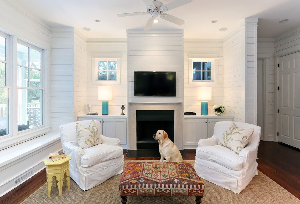 Shipping Crate Homes for a Beach Style Living Room with a Tv Over Fireplace and Amy Trowman Sullivans Beach House No. 3 by Matthew Bolt Graphic Design