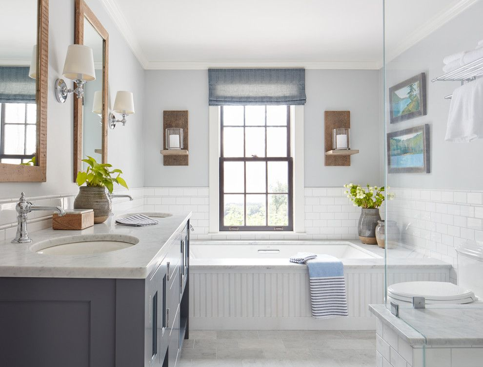 Shipping Crate Homes for a Farmhouse Bathroom with a Modern Farmhouse and This Old House   Northshore Farmhouse by Kristina Crestin Design