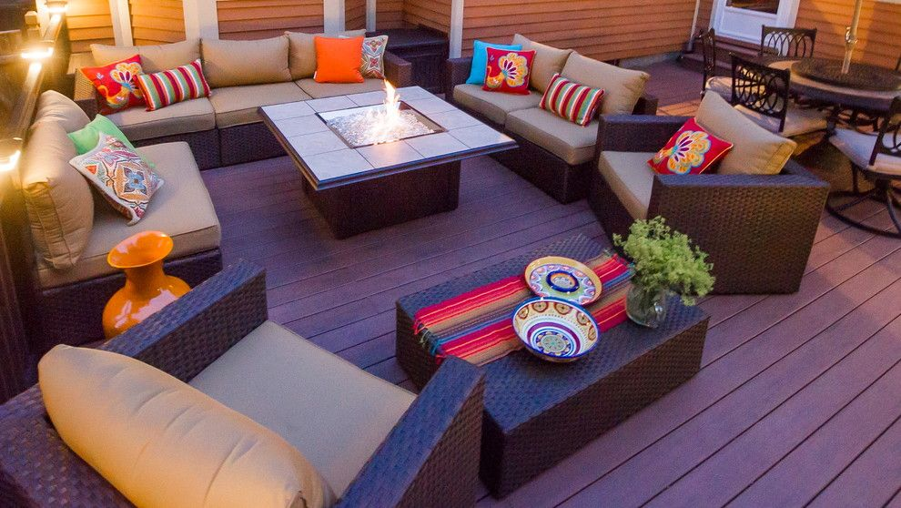 Shipping Crate Homes for a Modern Deck with a Red Accents and Clifton Park Deck by Bespoke Decor
