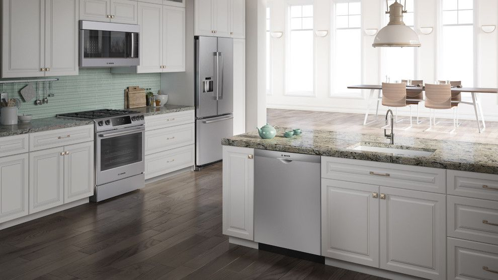 Short Pump Theater for a Contemporary Kitchen with a Dark Wood Flooring and Bosch Home Appliances by Bosch Home Appliances