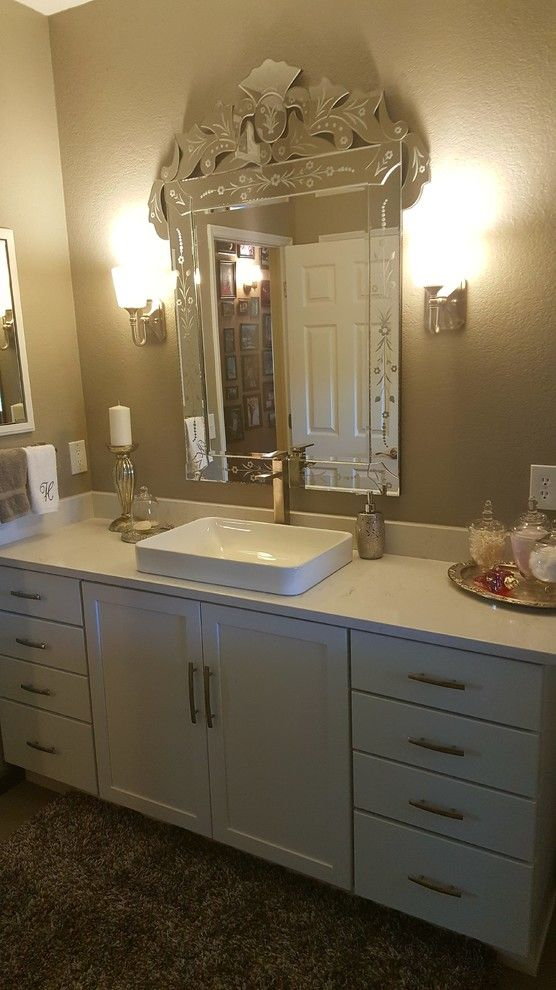 Sierra Vista Theater for a Transitional Bathroom with a Detailed Mirror and Beautiful Bathroom Remodel by Mr. Fix It of Sierra Vista, Llc