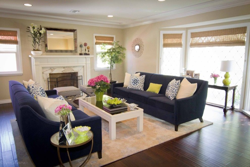 Sightline for a Contemporary Living Room with a Bamboo Shades and Georgette Westerman Interiors by Georgette Westerman Interiors