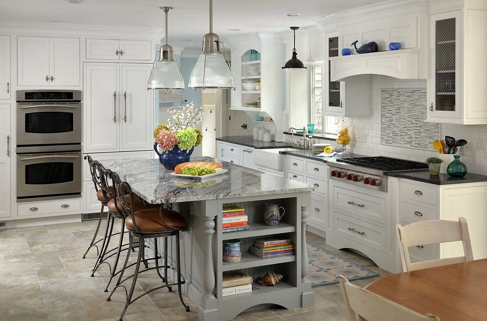 Silver Legacy Buffet for a Beach Style Kitchen with a Open Shelves and Cape Cod Classic Kitchen by Cape & Island Kitchens