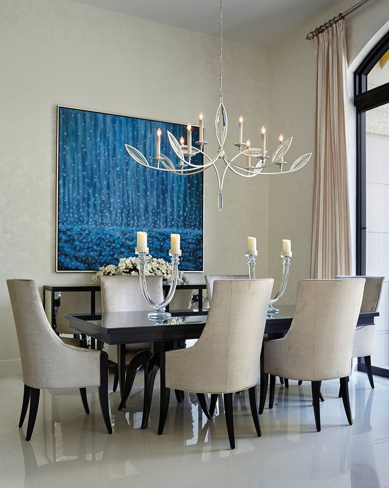 Silver Legacy Buffet for a Contemporary Dining Room with a Mirrored Table and Palm Beach Condo by Annie Santulli Designs