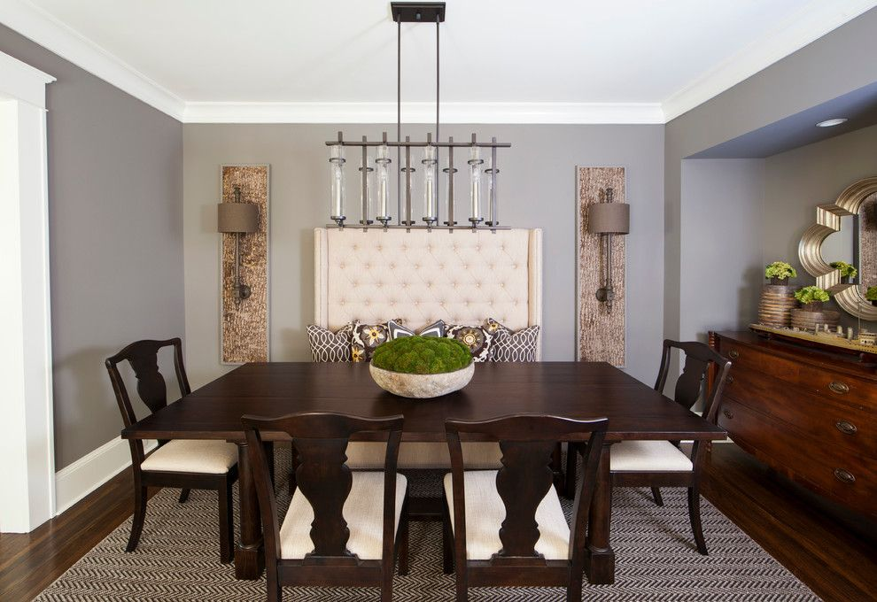 Silver Legacy Buffet for a Transitional Dining Room with a Chandelier and Feature Homes by Home Design & Decor Magazine