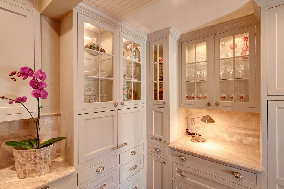 Silver Legacy Buffet for a Transitional Kitchen with a Glass Front Cabinets and Mcg. Residence by Mary Collis Interiors