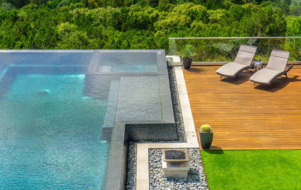 Simply Austin Furniture for a Modern Pool with a Gorgeous Pool and West Lake Hills Infinity Edge Pool & Decks (Ipe, Cable Railing) by TimberTown