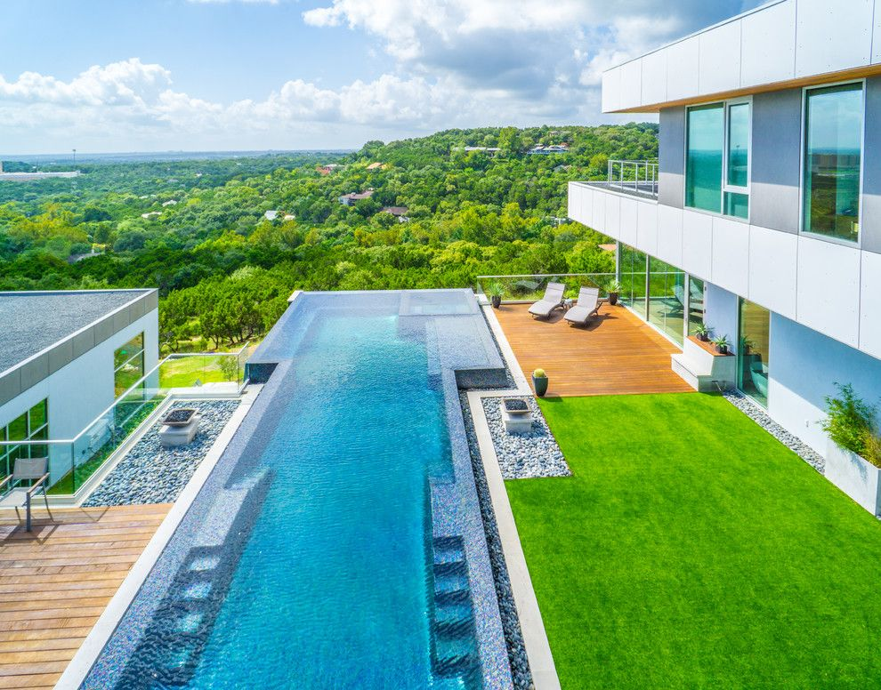 Simply Austin Furniture for a Modern Pool with a Outdoor Lounge Chairs and West Lake Hills Infinity Edge Pool & Decks (Ipe, Cable Railing) by Timbertown