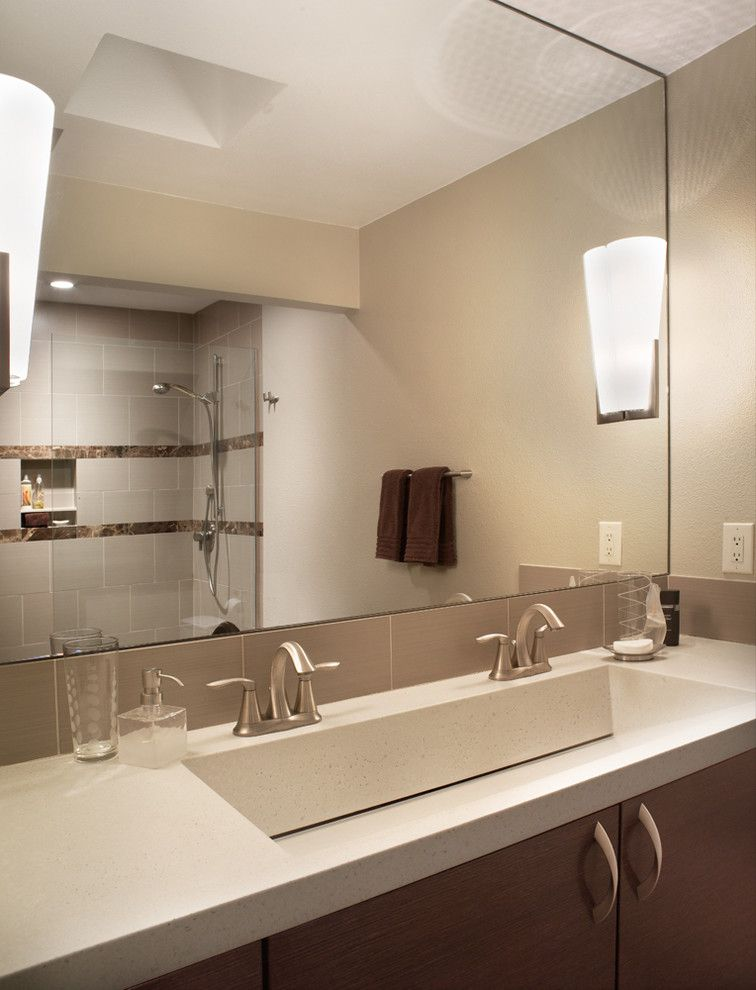 Single Hung vs Double Hung for a Modern Bathroom with a Wall Lighting and Master Bath by Patricia B. Warren, Aia   Warren Architecture, Llc