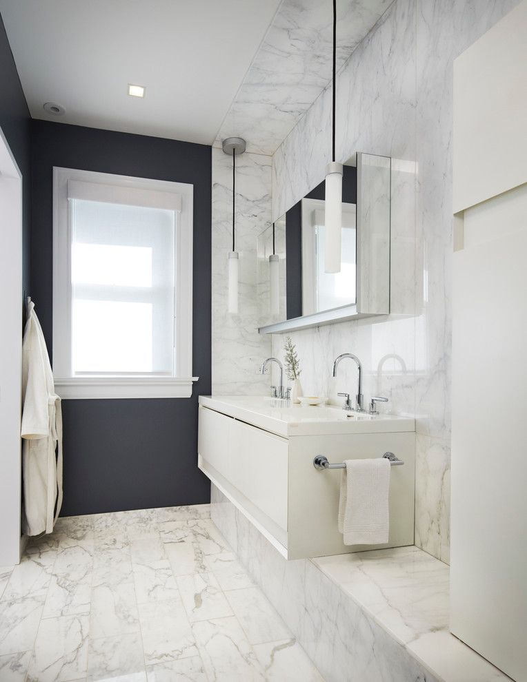 Single Hung vs Double Hung for a Modern Bathroom with a White Stone Wall and Hyde Park Victorian by Mia Rao Design