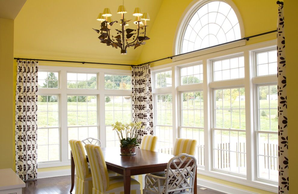 Single Hung vs Double Hung for a Traditional Dining Room with a Yellow and Hgtv Showhouse by Alisha Gwen Interior Design, Llc