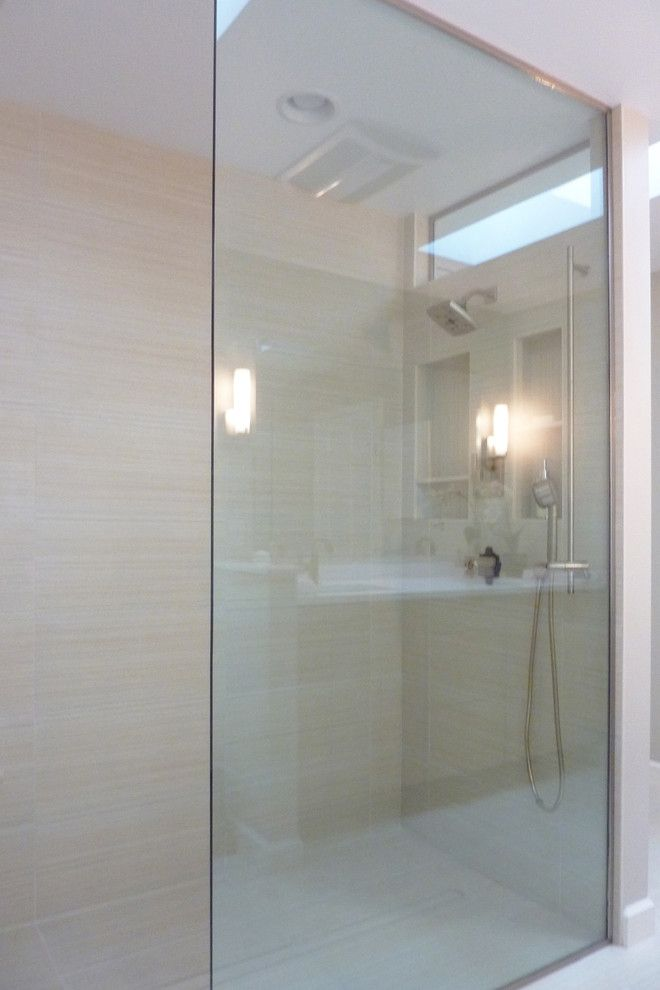 Skim Coat Walls for a Contemporary Bathroom with a Open Shower and Albany Bathroom Designs by Hudson Valley Design