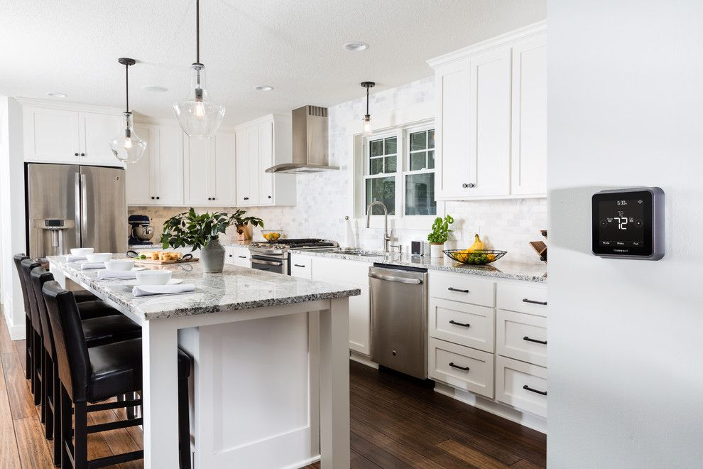Skim Coat Walls for a Contemporary Kitchen with a Smarthome Technology and Honeywell Home by Honeywell Home