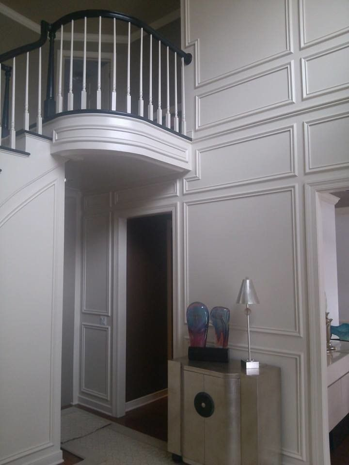Skim Coating for a  Staircase with a White Staircase and Our Work by Prime Time Painting & Drywall Llc