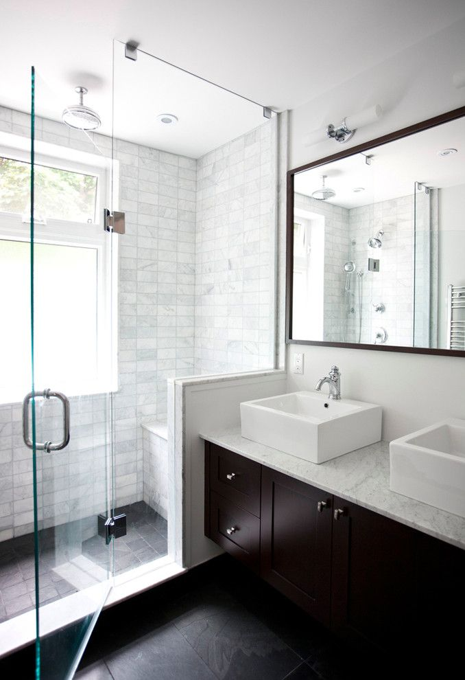 Skunk Smell in House for a Transitional Bathroom with a Double Vanity and Classic Contemporary Washroom by Melissa Davis Design