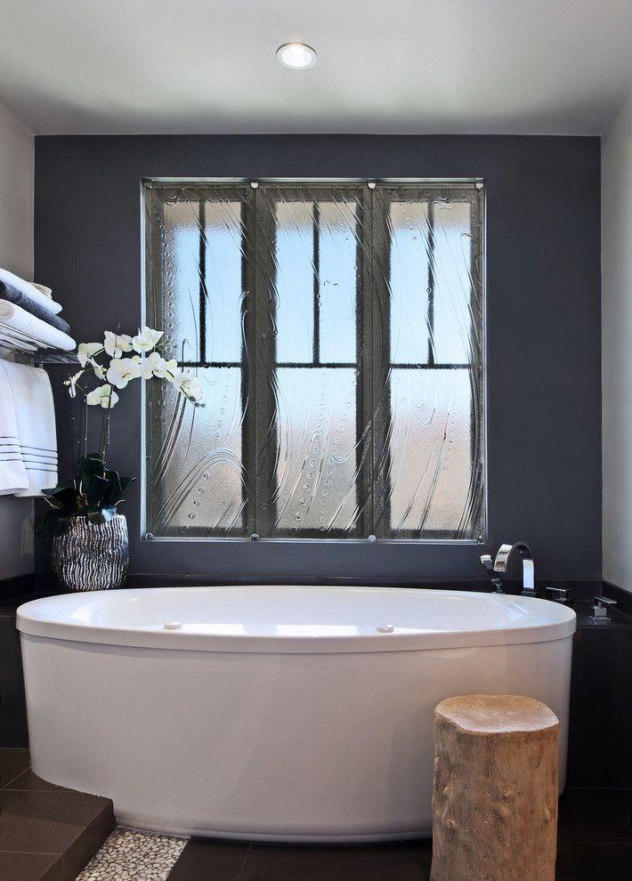 Slamp for a Contemporary Bathroom with a Freestanding Bath and Long Beach Master Bath by International Custom Designs