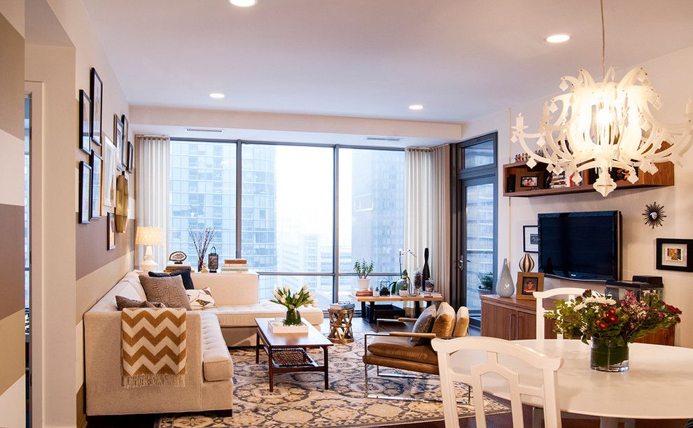 Slamp for a Contemporary Living Room with a Slamp Light Fixture and Streeterville Condo by Claudia Martin, Asid