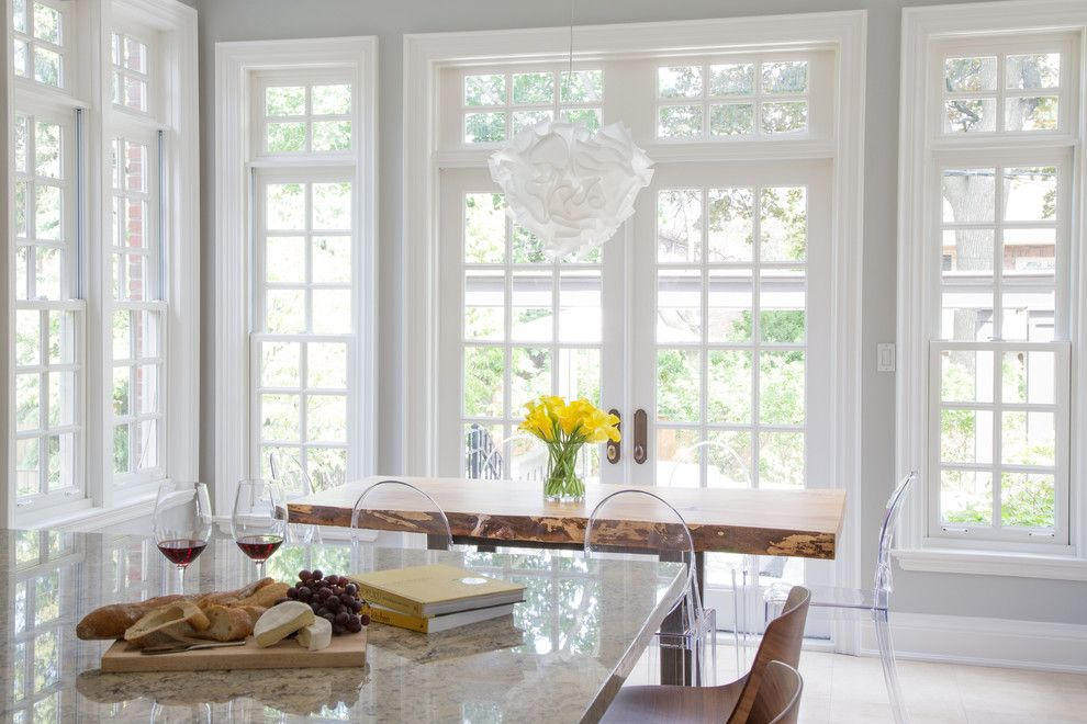 Slamp for a Transitional Kitchen with a Bright Kitchen and Courtleigh by Barlow Reid Design