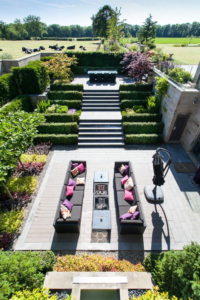 Sloat Garden Center for a Contemporary Patio with a Cows and Rural House, Lancashire by Barnes Walker Landscape Architects, Manchester by Barnes Walker Ltd   Landscape Architects