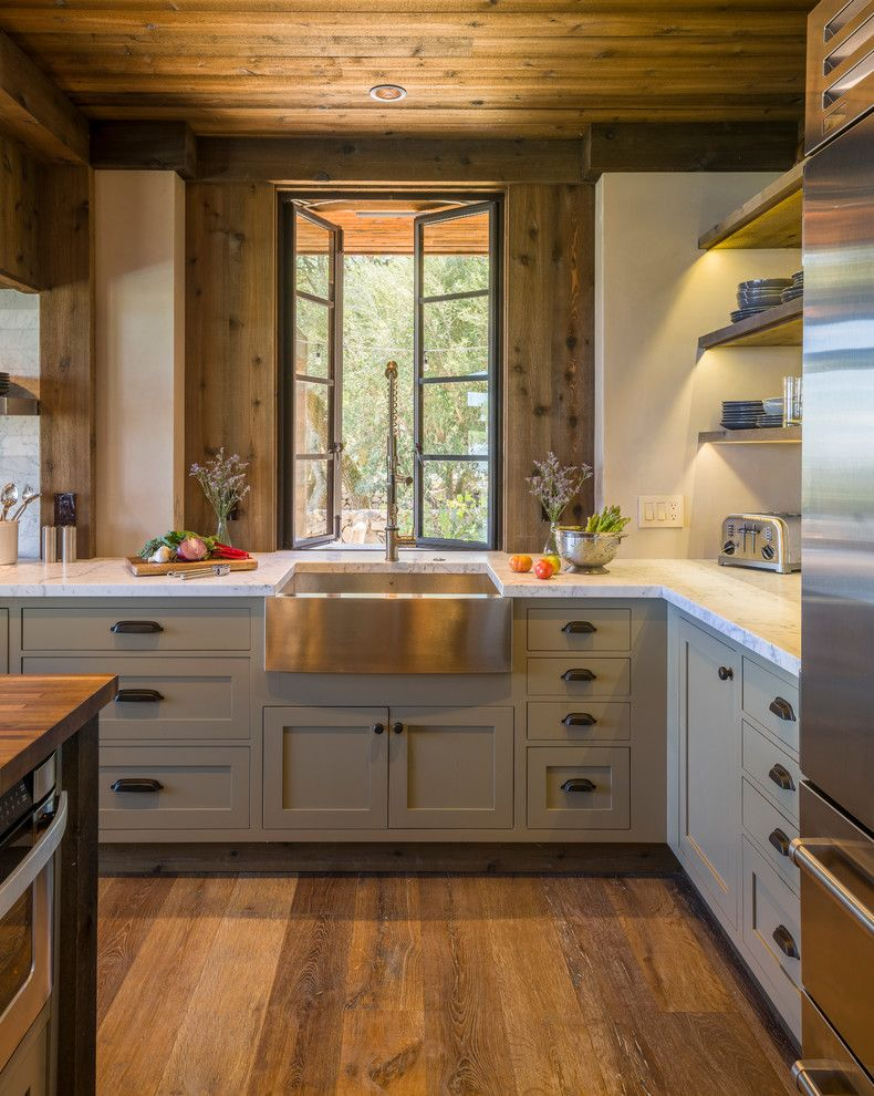 Slow Draining Sink for a Rustic Kitchen with a Window and Sonoma Kitchen by Barbra Bright Design