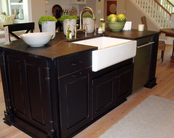 Slow Draining Sink for a Traditional Kitchen with a Farm Sink and 2013 Parade of Homes   Pinnacle Homes Winner   Best Kitchen by Columbia Cabinets