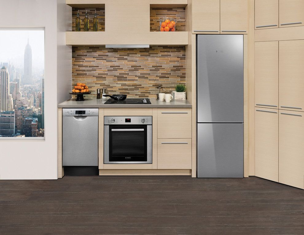 Slumberland Iowa City for a Contemporary Kitchen with a Dark Wood Floor and Bosch Small Spaces Kitchens by Bosch Home Appliances