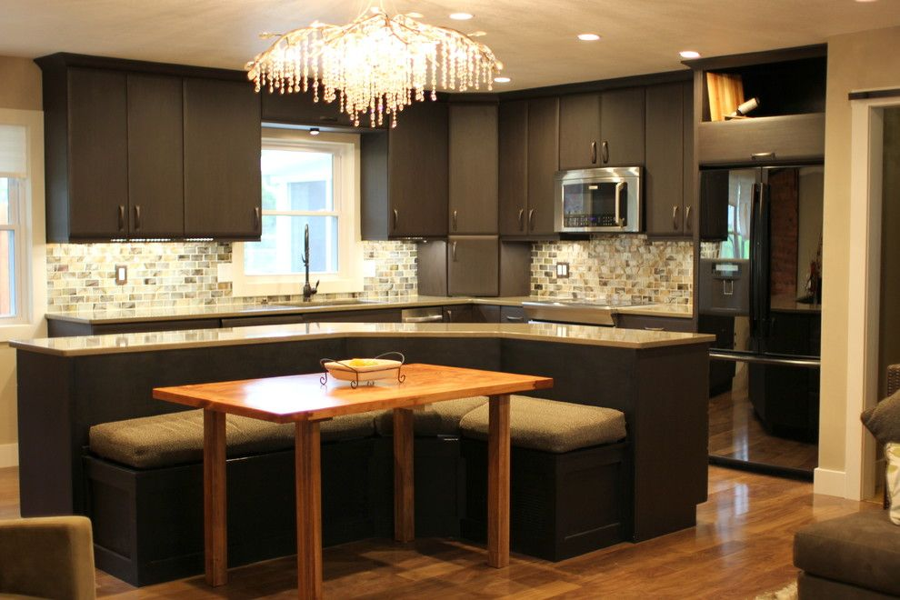 Slumberland Iowa City for a Transitional Kitchen with a Glass Tile and East Iowa City Remodel by Sk Cabinetry & Design
