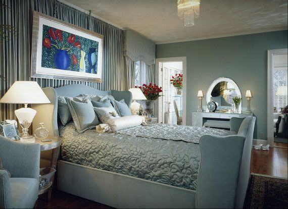 Smalls Chicago for a Traditional Bedroom with a Blue Suede Bed Frame and Vintage Luxury by Interiors by Mary Susan