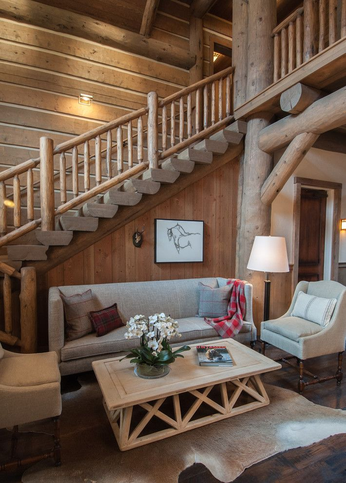 Snake River Sporting Club for a Rustic Living Room with a Banister and Snake River Sporting Club by Wrj Design