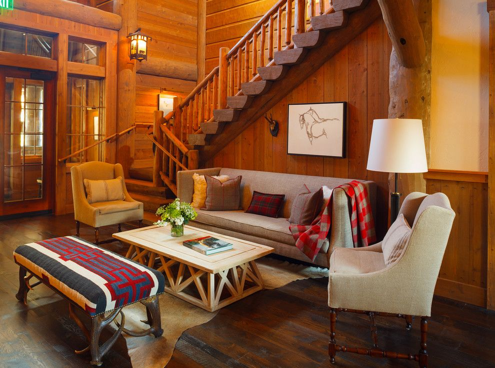 Snake River Sporting Club for a Rustic Staircase with a Lodge and Snake River Sporting Club by Wrj Design