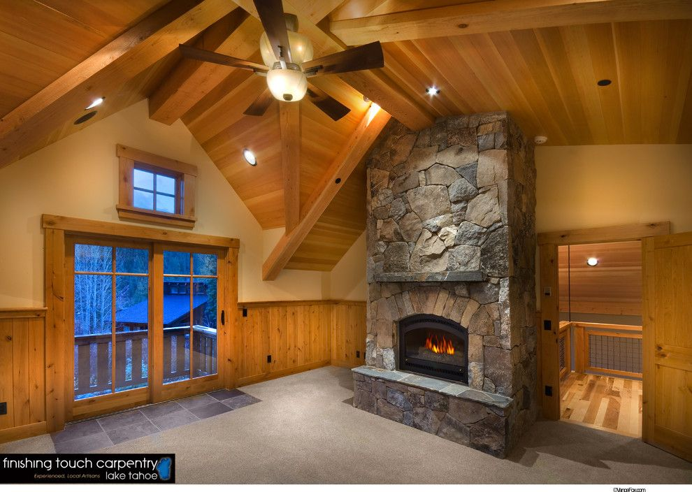Snowcrest for a Rustic Bedroom with a Wood Ceiling and Interiors // Snowcrest House // Alpine Meadows, Ca by Finishing Touch Carpentry