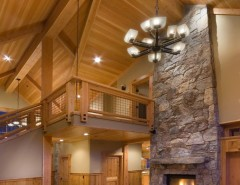 Snowcrest for a Rustic Living Room with a Wood Wainscoating and INTERIORS // Snowcrest House // Alpine Meadows, CA by Finishing Touch Carpentry
