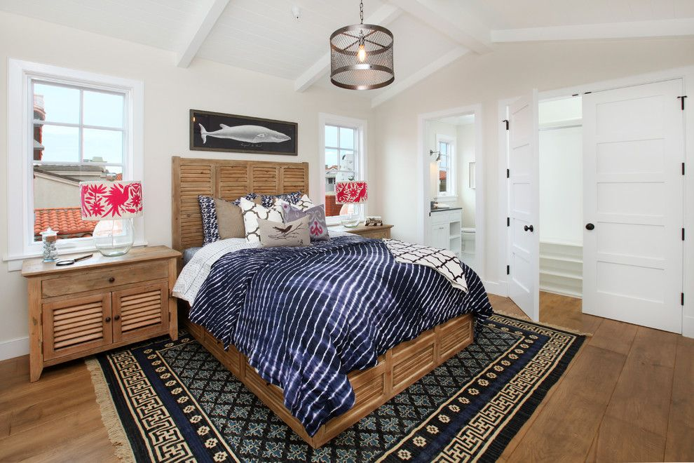 Sol Newport Beach for a Beach Style Bedroom with a Bed Pillows and Lido Island I by Blackband Design