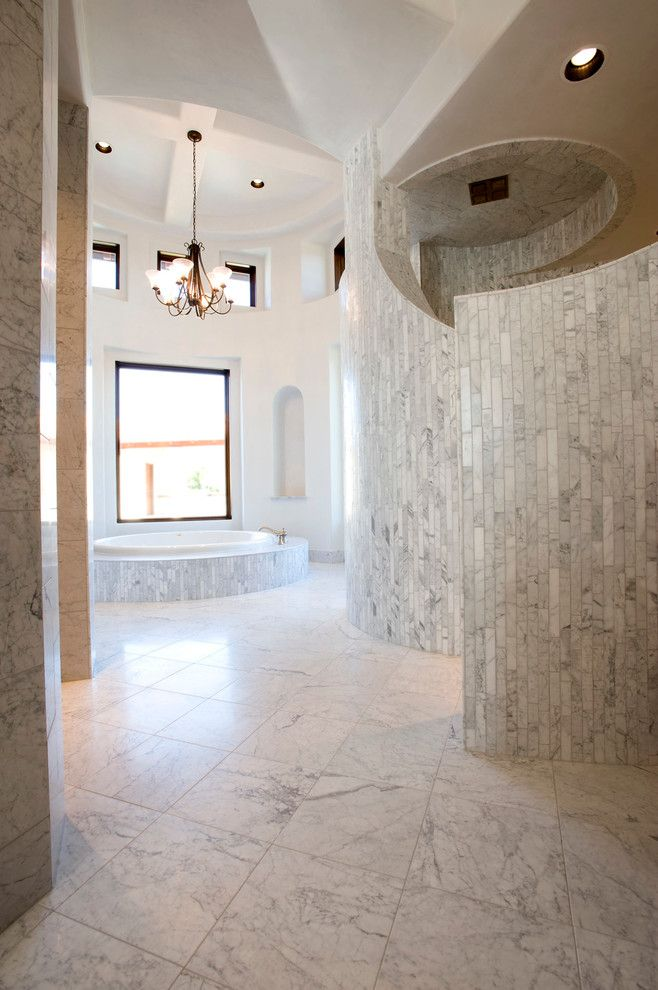 Sonos Santa Barbara for a Mediterranean Bathroom with a Clerestory and Santa Barbara in Texas by Joseph Volpe, Designer