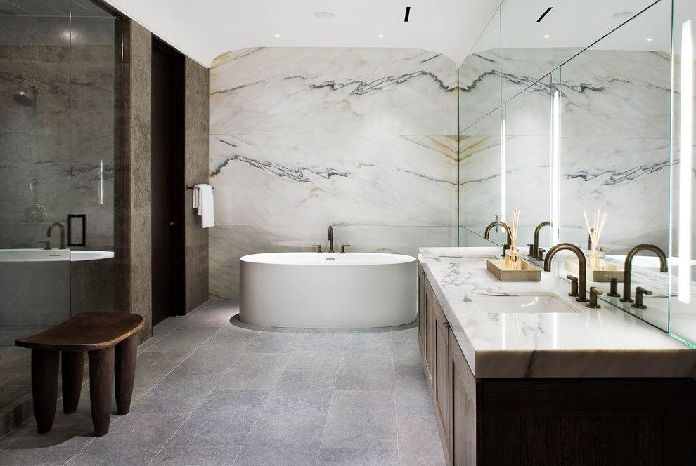 South Texas Center for Pediatric Care for a Contemporary Bathroom with a Curbless Shower and Bathrooms by Platinum Series by Mark Molthan